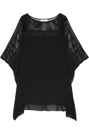 Mesh-paneled chiffon top