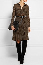 Belted polka-dot chiffon shirt dress