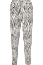 Snake-print crepe tapered pants