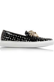 Cutout patent-leather slip-on sneakers