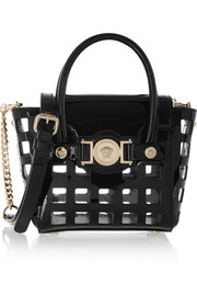 Versace Cutout patent-leather shoulder bag