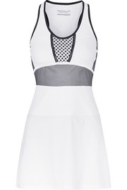 Monreal London Mesh-paneled stretch-jersey dress