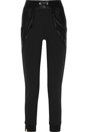 Satin jersey-paneled stretch-crepe track pants