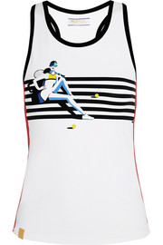 Monreal London Racer-back printed stretch-jersey tank
