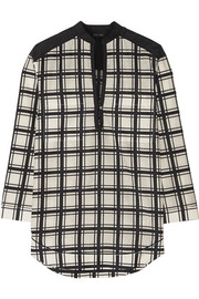 Checked cotton and silk-blend voile tunic