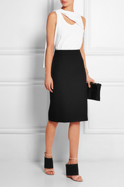 Basketweave crepe pencil skirt