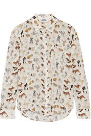 Finds + Silken Favours Puppy Passion printed silk-crepe shirt