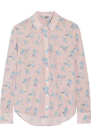 Finds + Silken Favours Pretty Pegasus printed silk-crepe shirt