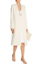 Cotton-blend crepe coat
