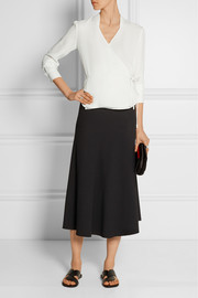 Fluted stretch-crepe skirt