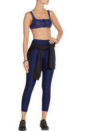 Jasmine glossed stretch-jersey sports bra