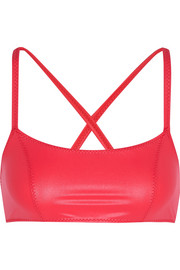 Glossed stretch-jersey sports bra