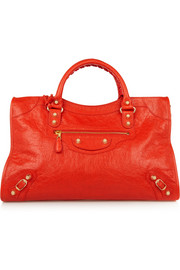 City medium textured-leather tote