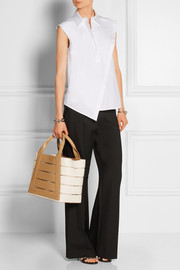 Cutout leather tote