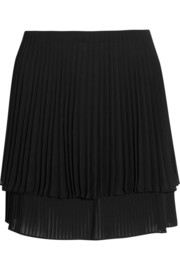 Layered pleated crepe mini skirt