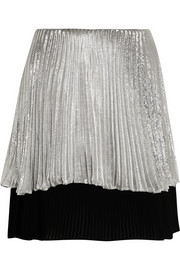 Metallic plissé silk-blend mini skirt