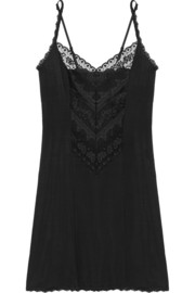 Antoinette lace-paneled jersey chemise