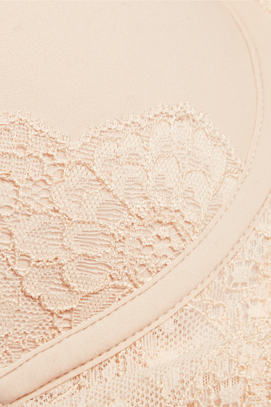 5b75b38ef14dc Stella McCartney. Smooth   Lace stretch-crepe and lace contour plunge T-shirt  bra