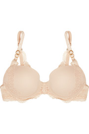Smooth & Lace stretch-crepe and lace contour plunge bra