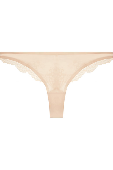 stella mccartney female stella mccartney smooth lace stretchjersey and lace thong beige