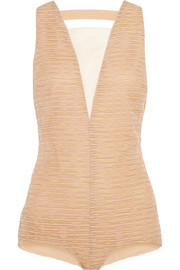 Ruched silk-organza bodysuit