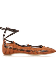 Lace-up leather point-toe flats