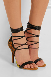 Suede, leather and jersey sandals