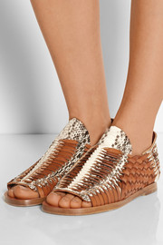 Woven leather and elaphe sandals