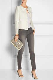 Leather-trimmed linen and cotton-blend tweed jacket