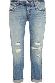 501 CT distressed mid-rise straight-leg jeans