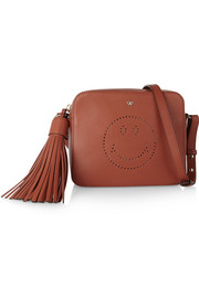 Smiley perforated leather shoulder bag