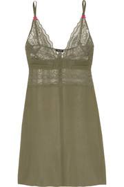 A Corps Perdu lace-trimmed silk-georgette chemise