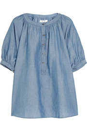 Circle linen and cotton-blend chambray top