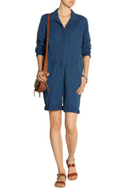 Embroidred cotton-chambray jumpsuit