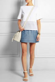 Soleri linen and cotton-blend chambray mini skirt
