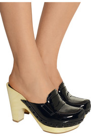 Patent-leather platform clogs