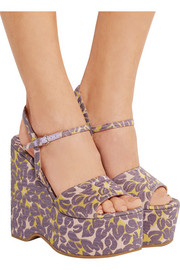 Miu Miu Floral brocade wedge sandals