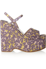 Floral brocade wedge sandals