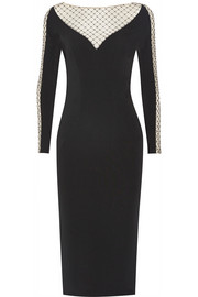 Beaded tulle-paneled stretch-crepe midi dress