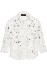 Embellished cotton-blend lace blouse