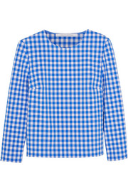 Giselle gingham stretch-crepe top
