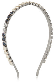 Miu Miu Palladium-plated, faux pearl and Swarovski crystal headband