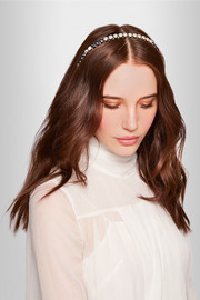 Palladium-plated, faux pearl and Swarovski crystal headband