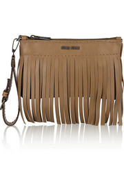 Fringed leather pouch