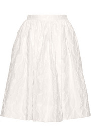 Pleated cotton-blend cloqué skirt