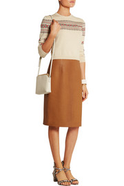Textured-leather pencil skirt