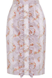 Miu Miu Ruffled floral-print taffeta pencil skirt