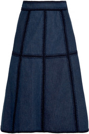 Whipstitched denim skirt