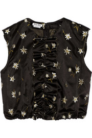Cropped embroidered silk-satin top