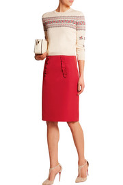 Miu Miu Ruffled satin pencil skirt